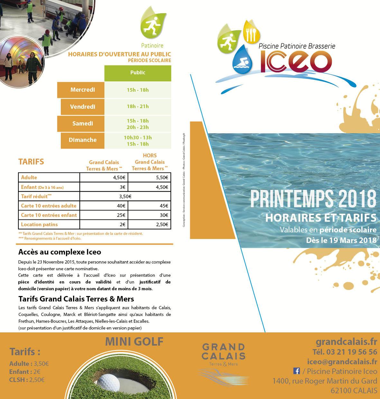 Les Horaires Du0027ouverture Et Tarifs 2018   Printemps 2018   Période Scolaire    Valables à Partir Du 19 Mars 2018