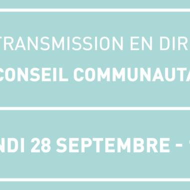 Suivez le Conseil Communautaire ce lundi 28 septembre